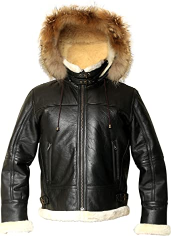 Men B3 Parka Long Coat Genuine Leather Jacket with real shearling hood