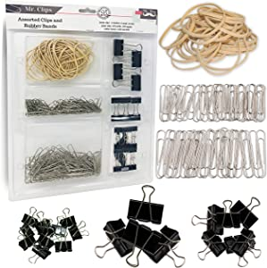 Mr. Pen- Assorted Binder Clips, Paper Clips, Rubber Bands, Paper Clips Jumbo, Paper Clips Small, Binder Clips Small, Binder Clips Medium, Binder Clips Large, Assorted Rubber Bands, Foldback Clips