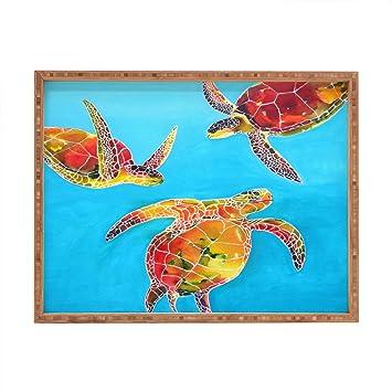 Deny Designs Clara Nilles Tie Dye Sea Turtles Tablett Rechteckig 17
