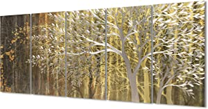 Gold Metal Tree Wall Decor Modern Nature Landscape Wall Art 3d Metallic Sculpture Hanging with Dacing Texture for Living Room Dinning Room