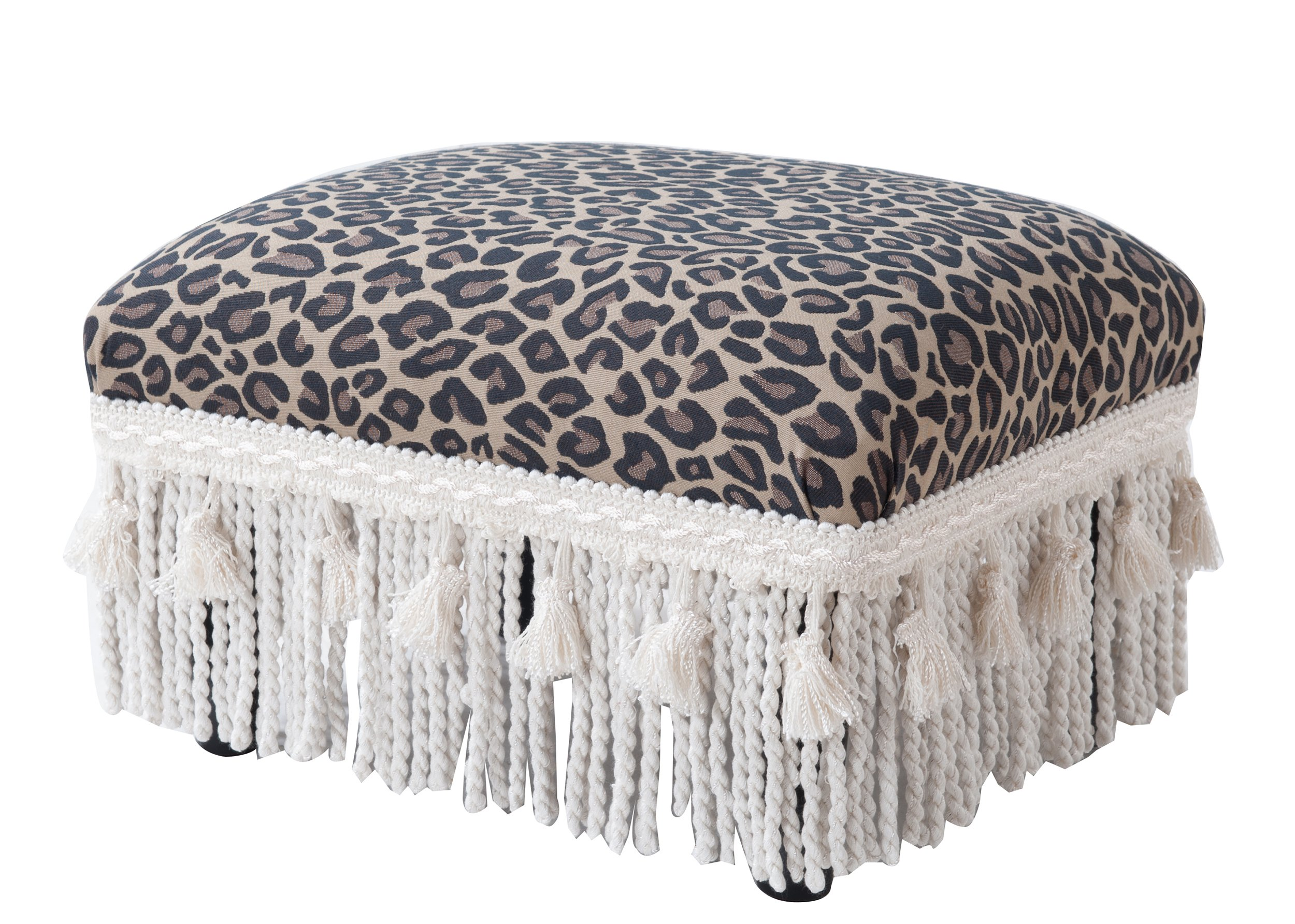 Jennifer Taylor Home 2318-655 Decorative Fiona Collection Traditional Upholstered Rayon Blend Footstool with Fringe and Trim Tassels, Multi-Colored, Brown/Beige by Jennifer Taylor Home (Image #3)