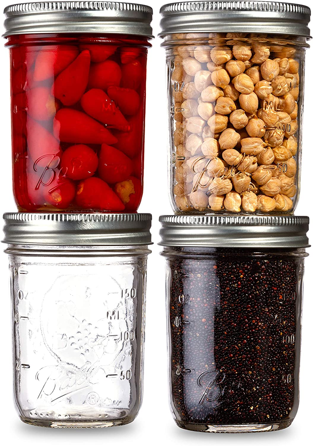 Ball Mason Jars Regular Mouth 8 oz Bundle with Non Slip Jar Opener- Set of 4 Mason Jars - Canning Glass Jars with Lids and Bands
