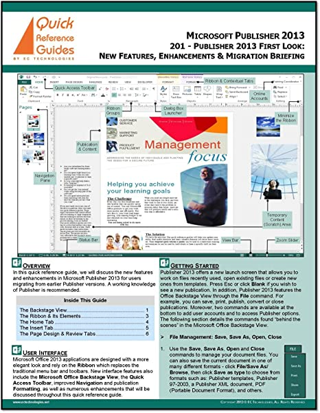 Amazon com: Microsoft Publisher 2013 First Look Quick