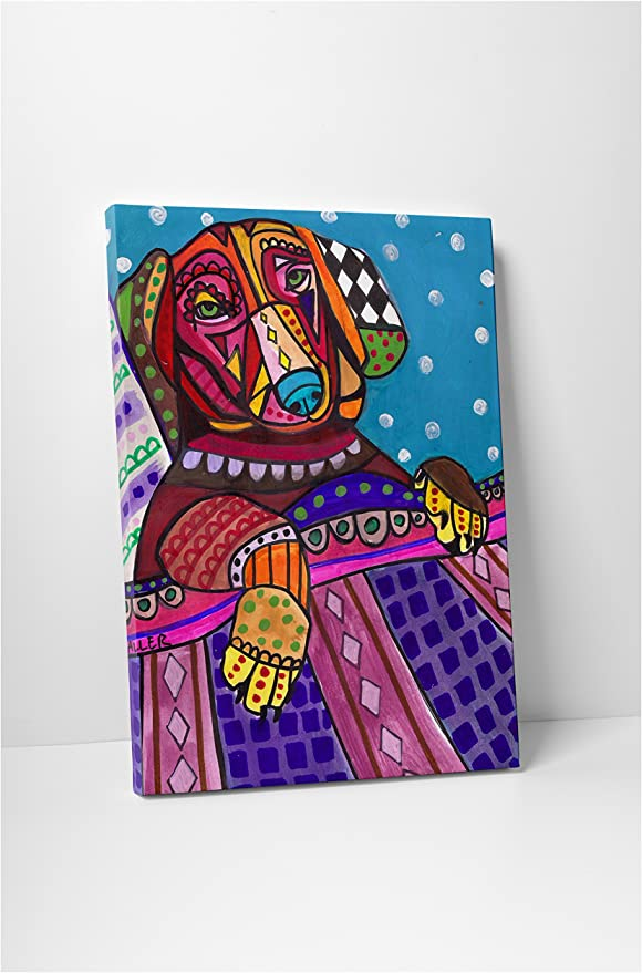 "Heather Galler Long Haired Dachshund Dog Gallery Wrapped Canvas 20/""x30/"""