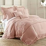 Antonella 8-Piece Pleated Comforter Set (King, Mauve)