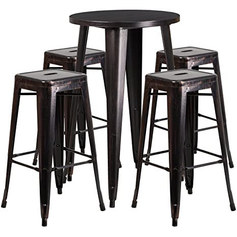 Brilliant Amazon Com Flash Furniture 24 Round Black Antique Gold Customarchery Wood Chair Design Ideas Customarcherynet