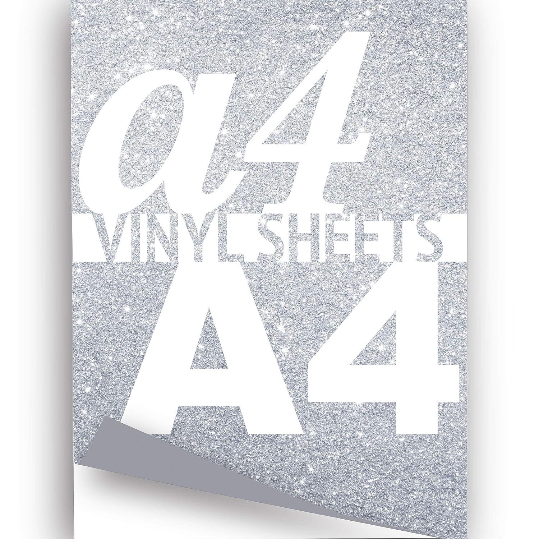 A4 con purpurina plateado 297 x 210 mm metálico 10 x autoadhesivo metálico mm Signo de vinilo a1427d