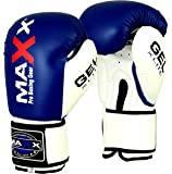 Maxx Blue/White boxing gloves Junior kids & adult sizes Rex leather 4oz - 16oz