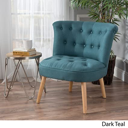 Genial Donna Mid Century Fusion Dark Teal Button Tufted Fabric Chair