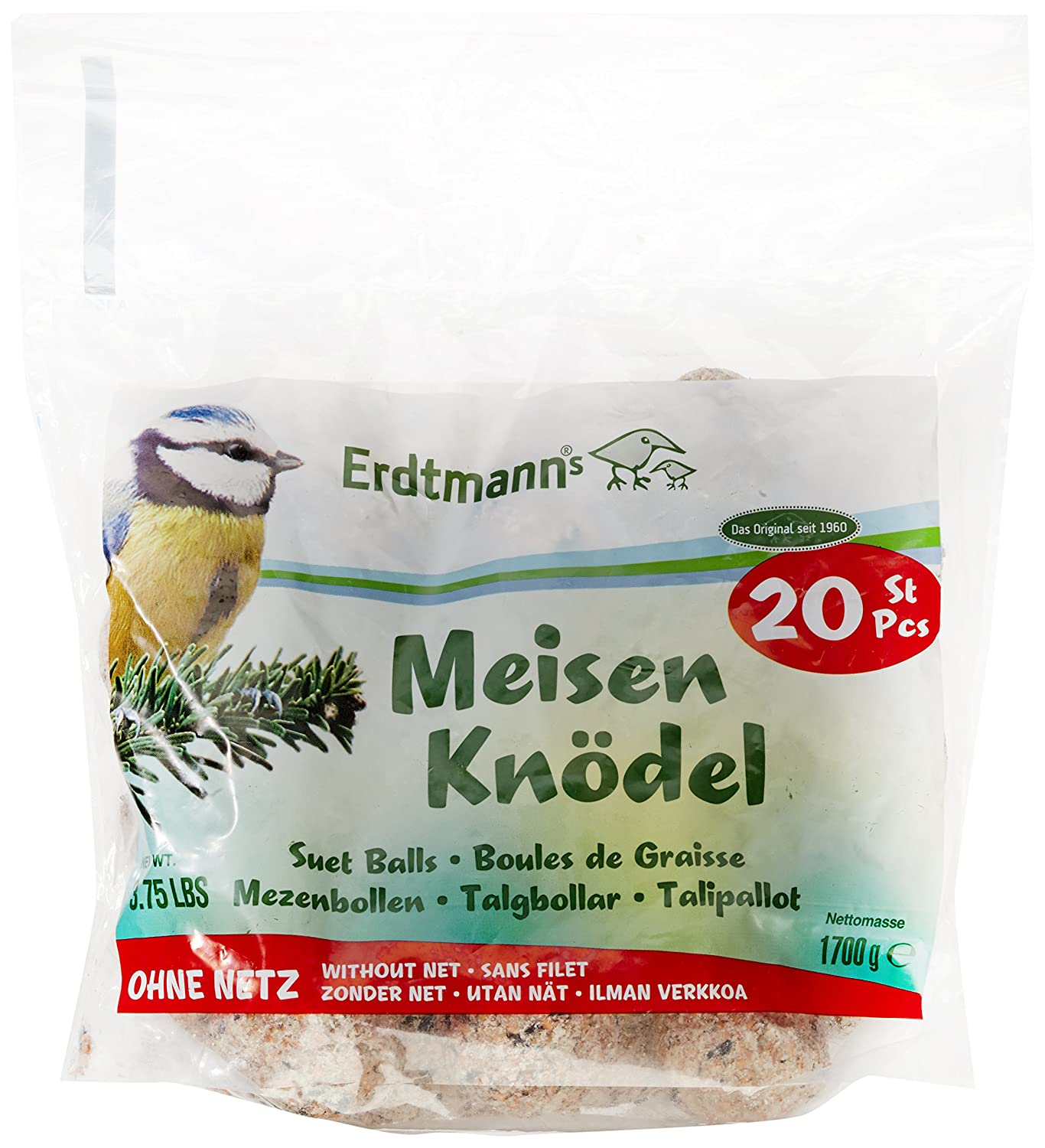 Erdtmann Suet Balls without Net, Pack of 20 without nets