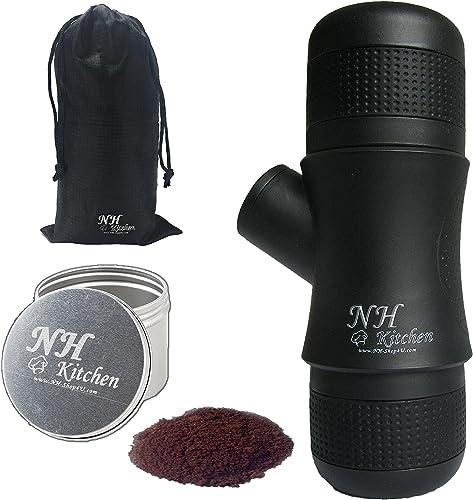 NH-Kitchen Mini Espresso Maker BONUS Portable Black Compact Manual Coffee Maker