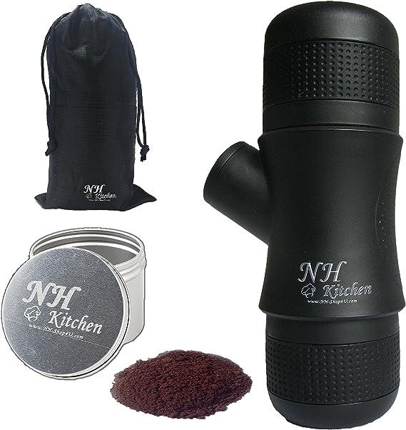 NH-Kitchen Mini Espresso Maker + BONUS! Portable Black Compact Manual Coffee Maker