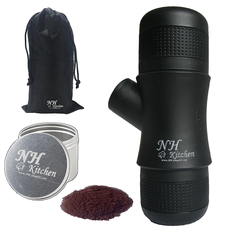 ☕️ Mini Espresso Maker + BONUS! ☕️ Portable Black Compact Manual Coffee Maker, Hand Operated Non-Electric Machine for ESPRESSO ☕️. BONUSES Container for ground coffee ☕️ & Elegant Carry Bag