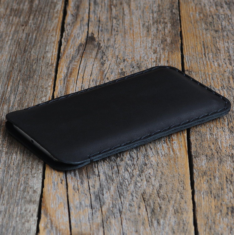 Negro Funda De Cuero Para BlackBerry KEYone Caja De Funda Bolsa. Cosido a mano.