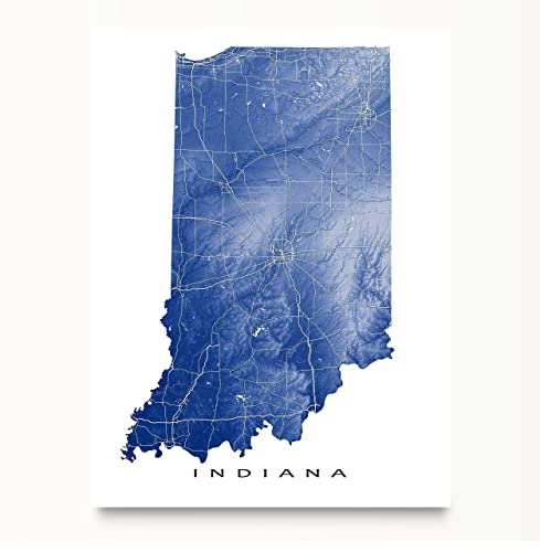 Amazoncom Indiana Map Art Print IN State Artwork USA Wall