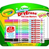 Crayola Washable Dry-Erase Fine Line Markers, 12 Classic Crayola Colors Non-Toxic Art Tools for Kids & Toddlers 3 & Up, Easy Clean Up, Won't Stain Hands or Clothes, Great for Classrooms