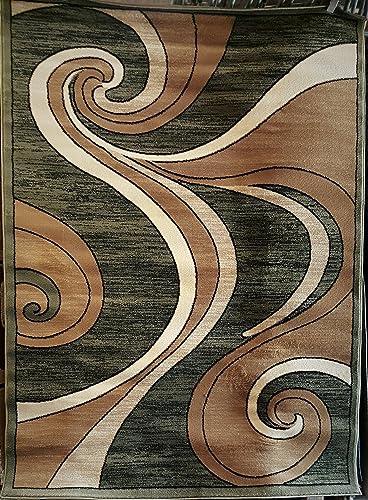 Bellagio Modern Area Rug Green Swirl Design 144 8 Feet X 10 Feet 6 Inch