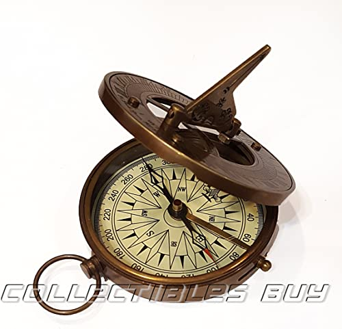 collectiblesBuy Vintage Nautical Sundial Compass Round Brass Finish Sundial Navigational Compass
