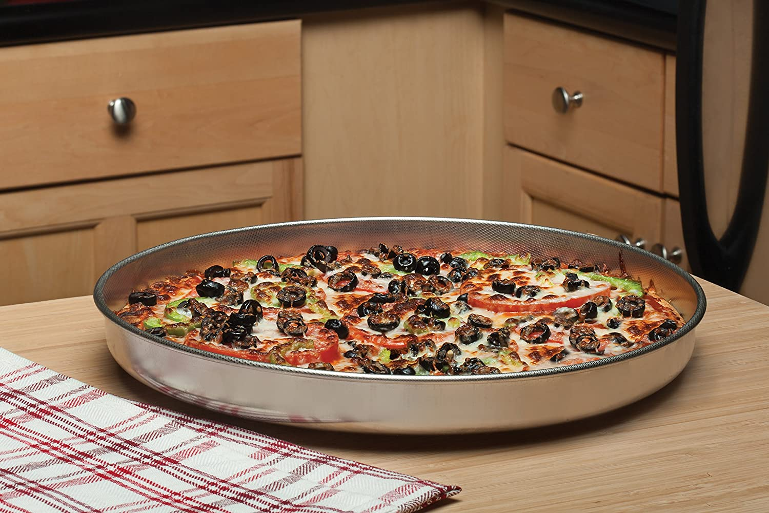 The I Silver Fante/'s Fantes 20406 FBA/_1294440 Micro-Textured Pizza Pan 18//10 Stainless Steel 13-Inch