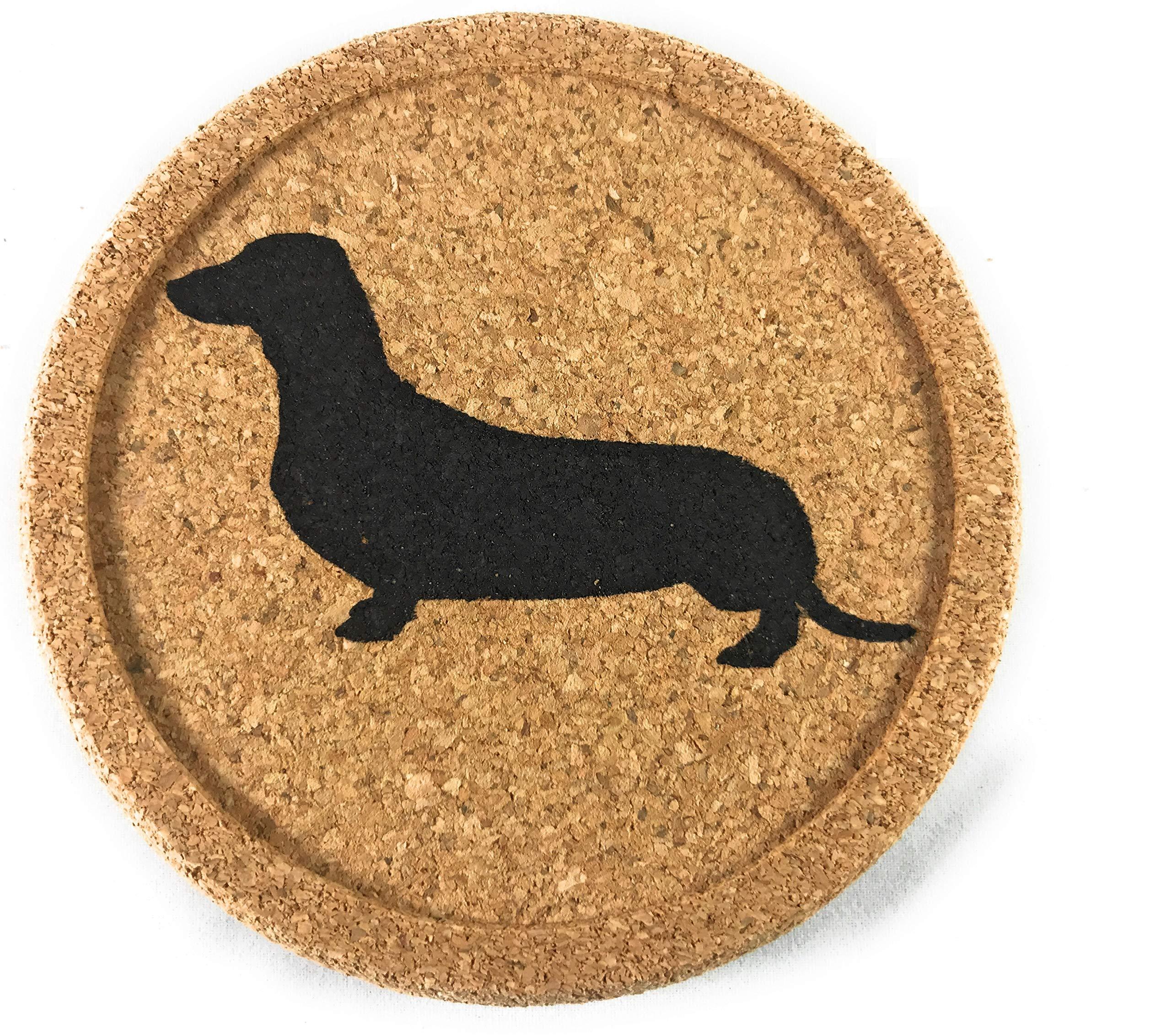 Dachshund Weiner Dog Gift Cork 4 Pack Drink Coasters Set - Basic Design Wiener Dog Decor - Perfect Decoration for Doxie Lovers by FunForFriendz