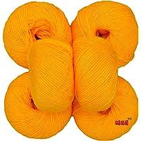 M.G 100% Acrylic Wool Yellow Baby Soft Wool Ball Hand Knitting Wool/Art Craft Soft Fingering Crochet Hook Yarn, Needle Knitting Yarn Thread Dyed