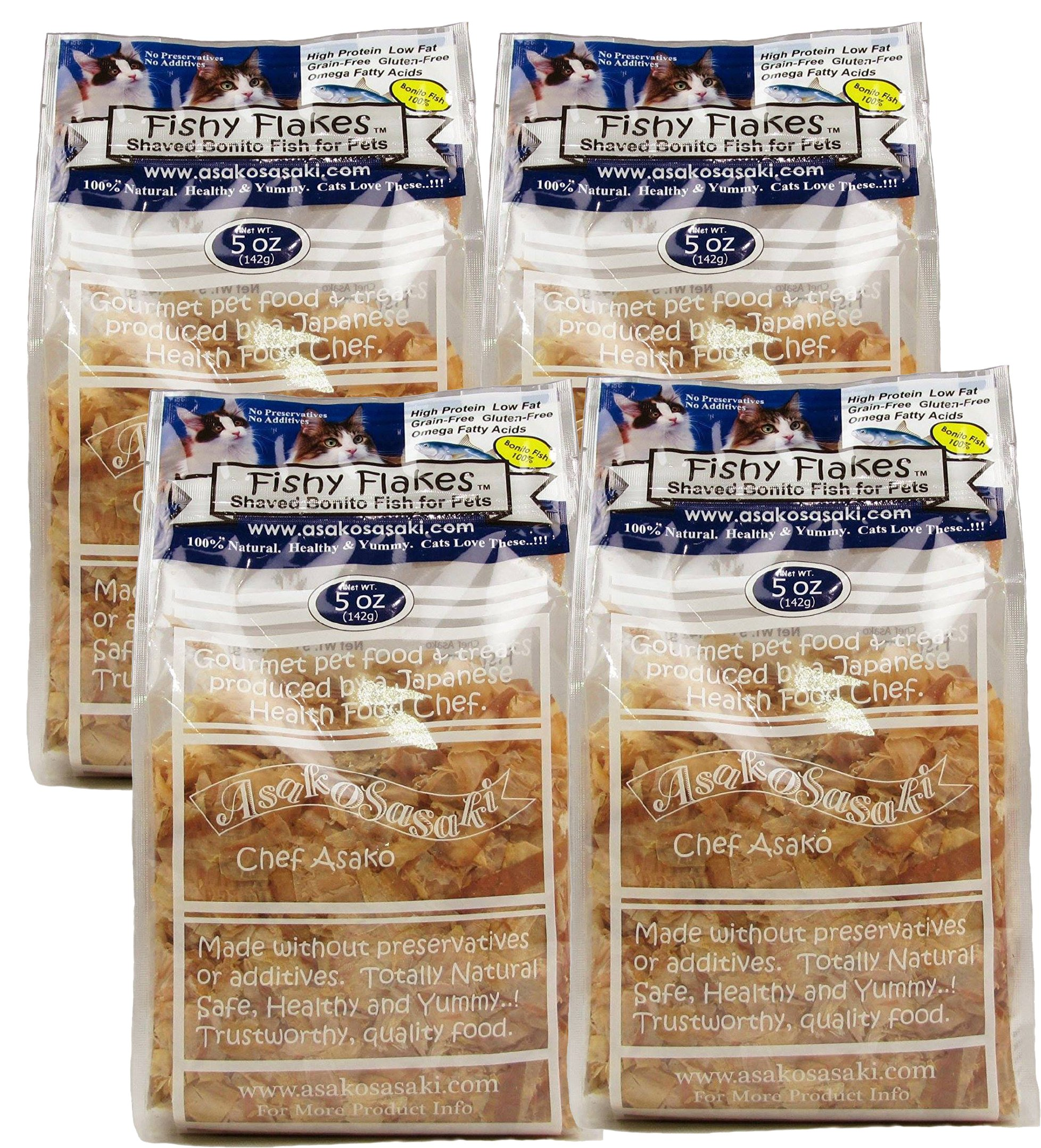 FISHY FLAKES Case of 4 Units (Total 1.25 lbs.) - Extra Large Strips Bonito Flakes - Chef Asako - 100% Bonito Fish - Zipper Standing Bag - No Preservatives - Taurine from Natural Fish - High Protein by FISHY FLAKES
