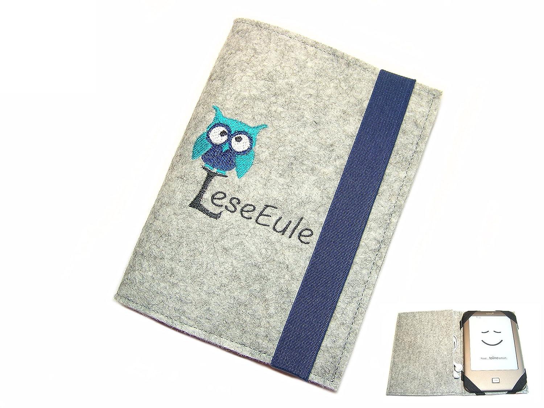 aufklappbare eBook Reader eReader Hülle LeseEule inkl. Stickerei Wollfilz Filz, Maßanfertigung Maßanfertigung