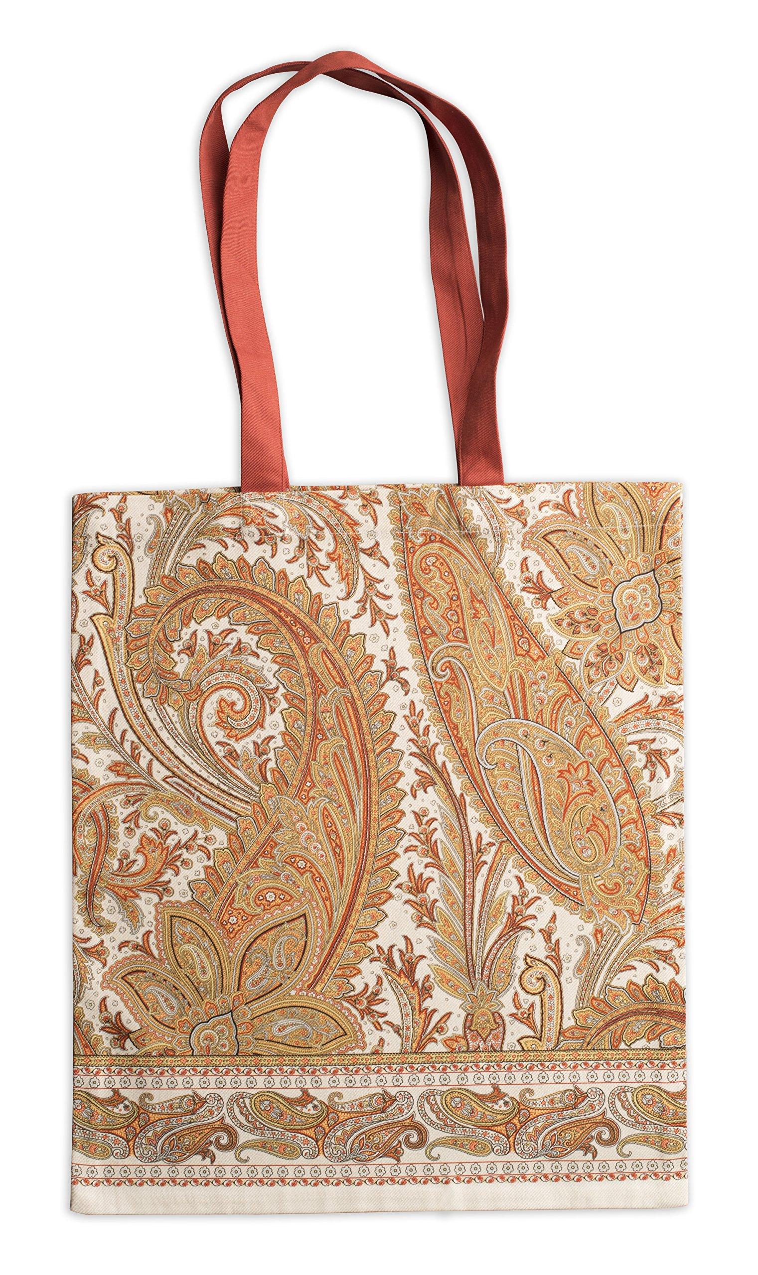 Maison d' Hermine Kashmir Paisley 100% Cotton Tote Bag 14 Inch by 17 Inch.