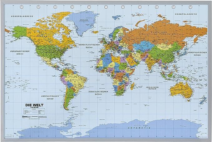 Politische Weltkarte Auf Kork Pinnwand Deutsch Mit 100 Nadeln