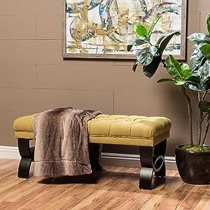 "Christopher Knight Home Living Reddington Light Green Tufted Fabric Ottoman Bench, 17.25""D x 41.00""W x 16.75""H"