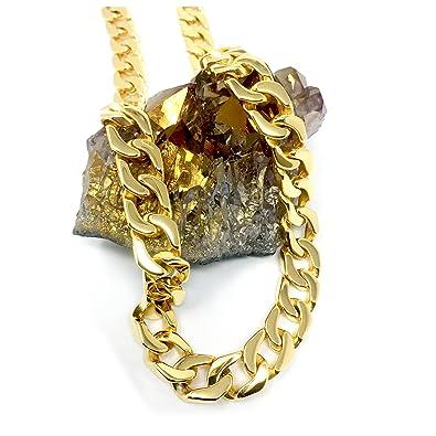50c113c2c Gold Cuban Link Chain Necklace for Men Real 14MM 14K Karat Diamond Cut  Heavy w Solid