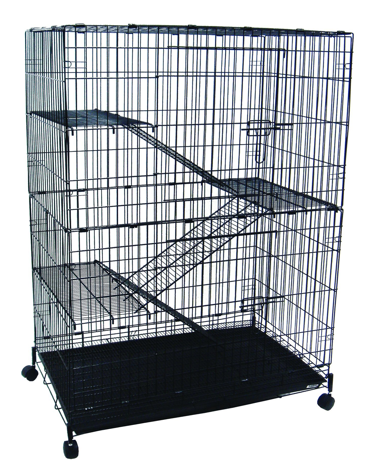 YML 4-Level Small Animal Chichilla Cat Ferret Cage, Black by YML
