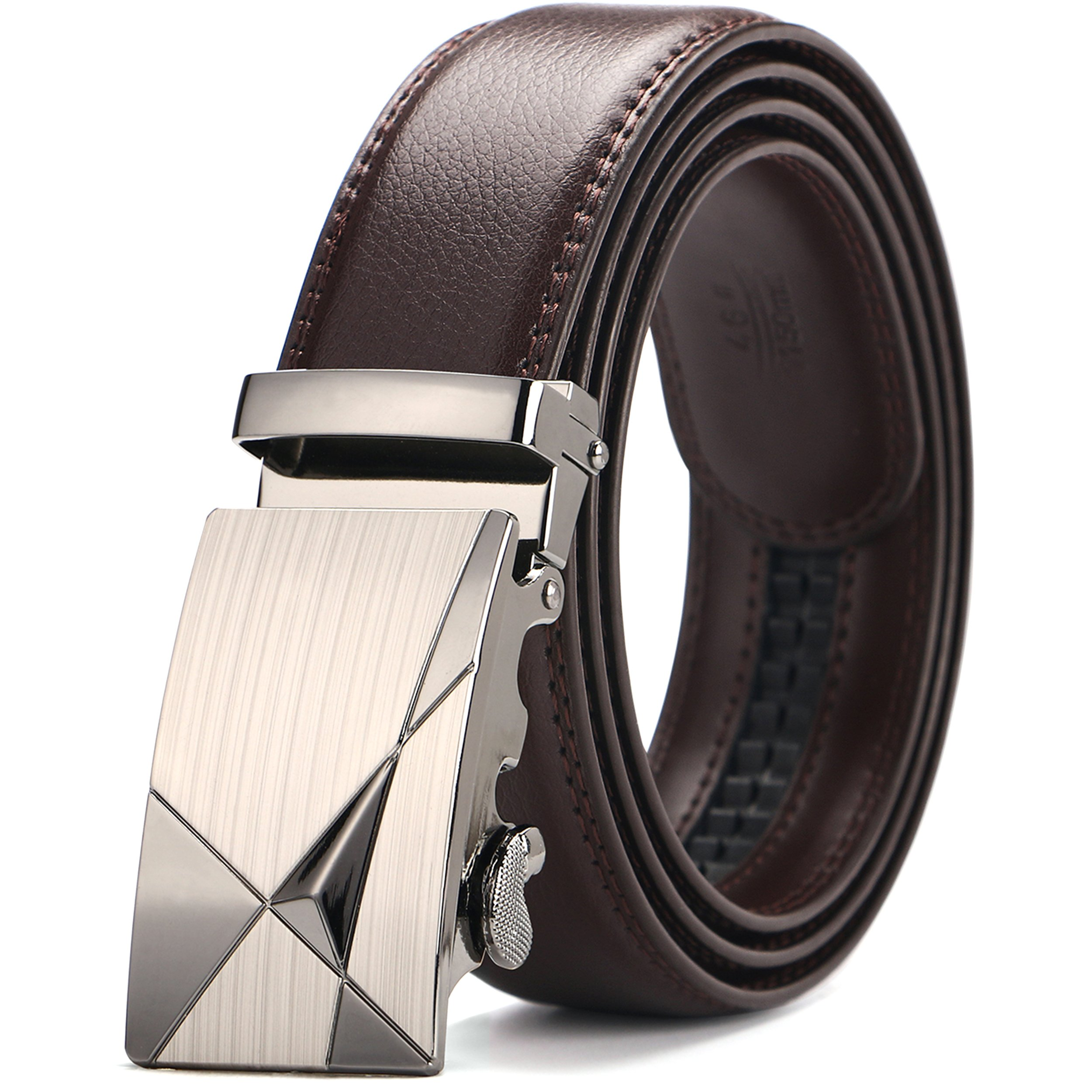 Iztor Men's Belts Leather Ratchet Dress Belt with Automatic Buckle 1 3/8'' Wider for from 20'' to 43'' Waist