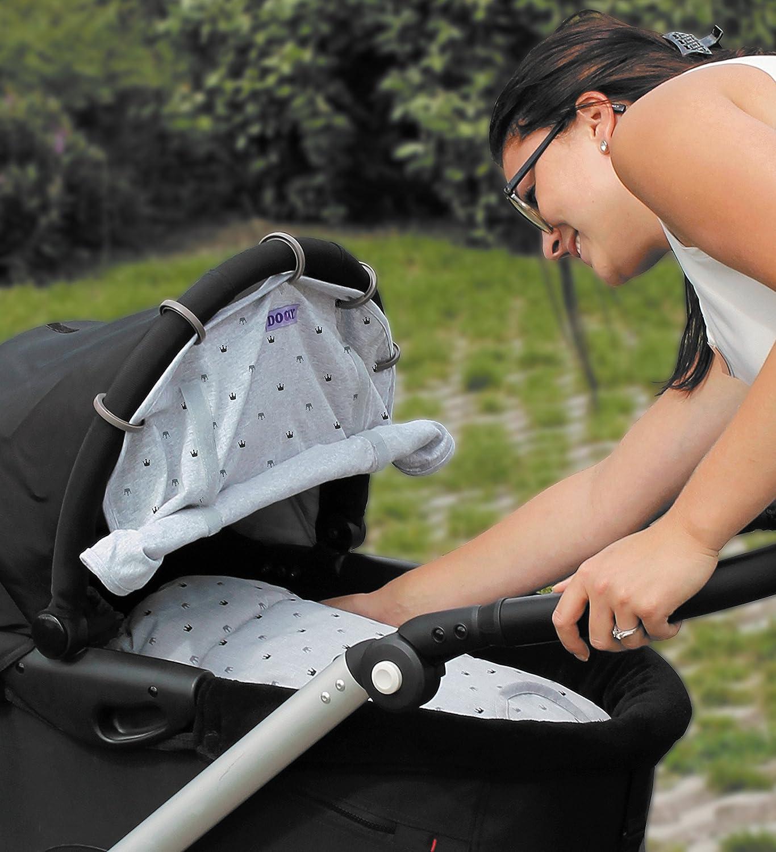 Dooky Design Sonnenschutz Sonnenblende für Kinderwagen und Babyschalen Light Grey Crowns 126626