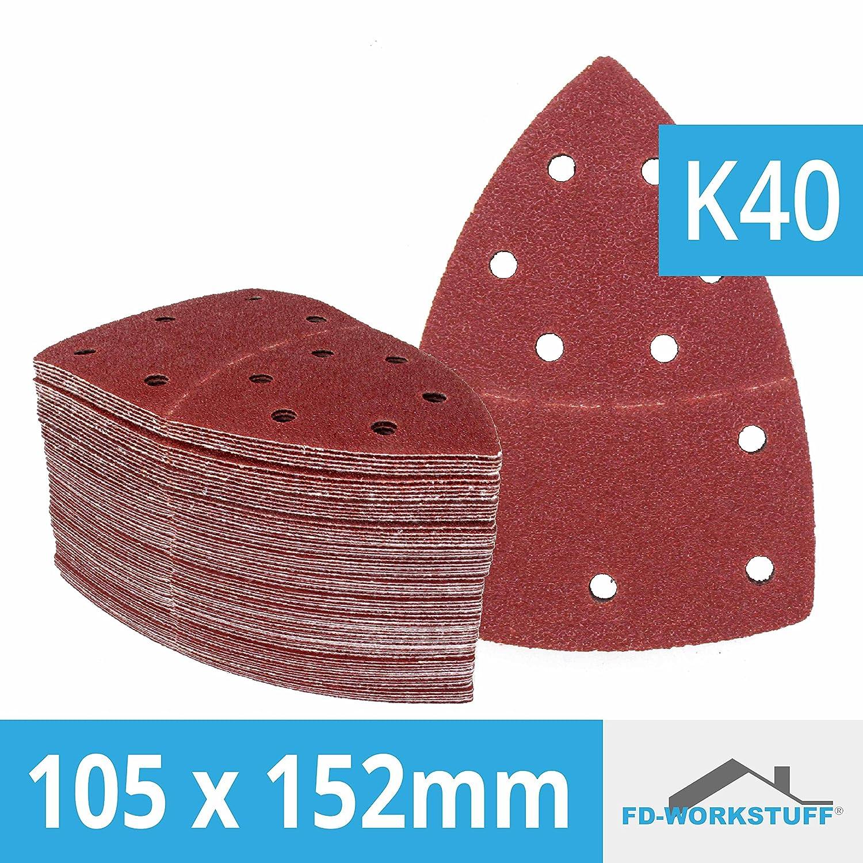 50 unidades de lija hojas 105 x 152 mm, grano 40 para lijadora Bosch Prio, ventaro FD-Workstuff