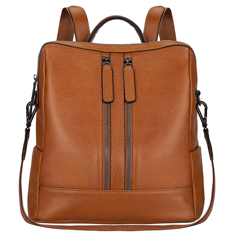 S-ZONE Women Genuine Leather Backpack Casual Shoulder Bag Purse Medium (Brown)