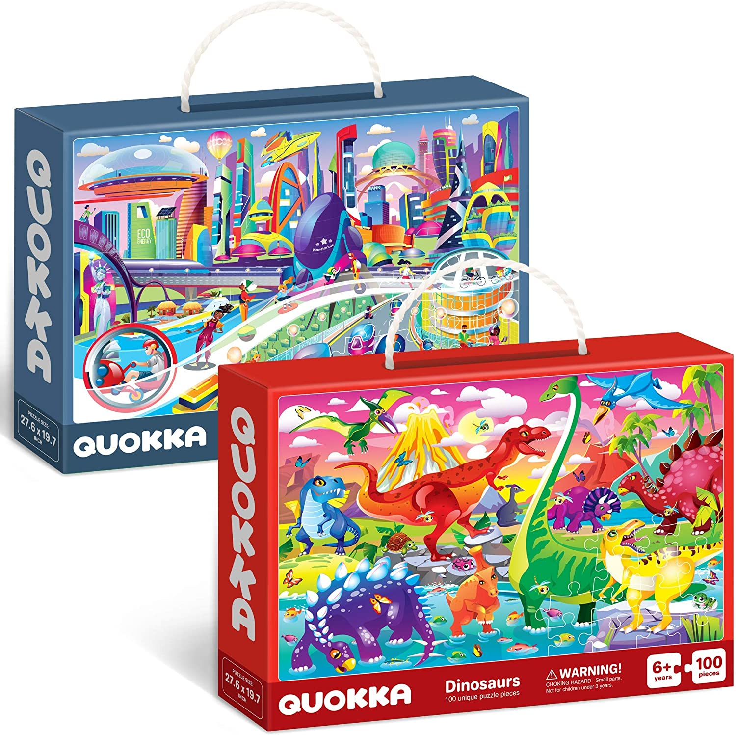 100 Pieces Floor Puzzles for Kids Ages 4-8 by Quokka Gift Games for Boys and Girl Ages 6-8-10 2 Jigsaw Puzzles with Dinosaurs for Toddlers Ages 3-5 Toys for Learning Dinos /& Future City Life