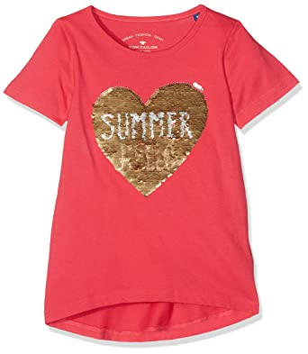 TOM TAILOR Kids Girl's Reversible Sequins T-Shirt, Pink (Berry Pink 5717)