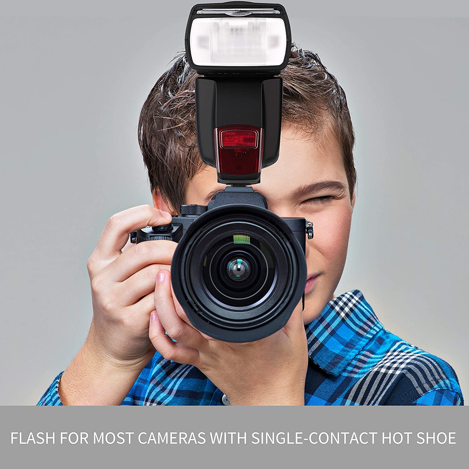 Flash Speedlite for Canon Nikon Panasonic Olympus Pentax and Other DSLR Cameras,Digital Cameras with Standard Hot Shoe Wireless Flash Speedlite 2.4G Wireless Radio Suitable All DSLR Cameras