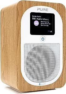 Pure Evoke H3 Portable FM/DAB+/DAB Digital Radio - Portable DAB Radio with Bluetooth, Dual Alarms and Full Colour Display, Oak