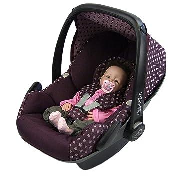 a481ad449f27 BAMBINIWELT Ersatzbezug für Maxi-Cosi PEBBLE 5-tlg, Bezug für Babyschale,  Komplett-Set STERNE BORDEAUX *NEU*