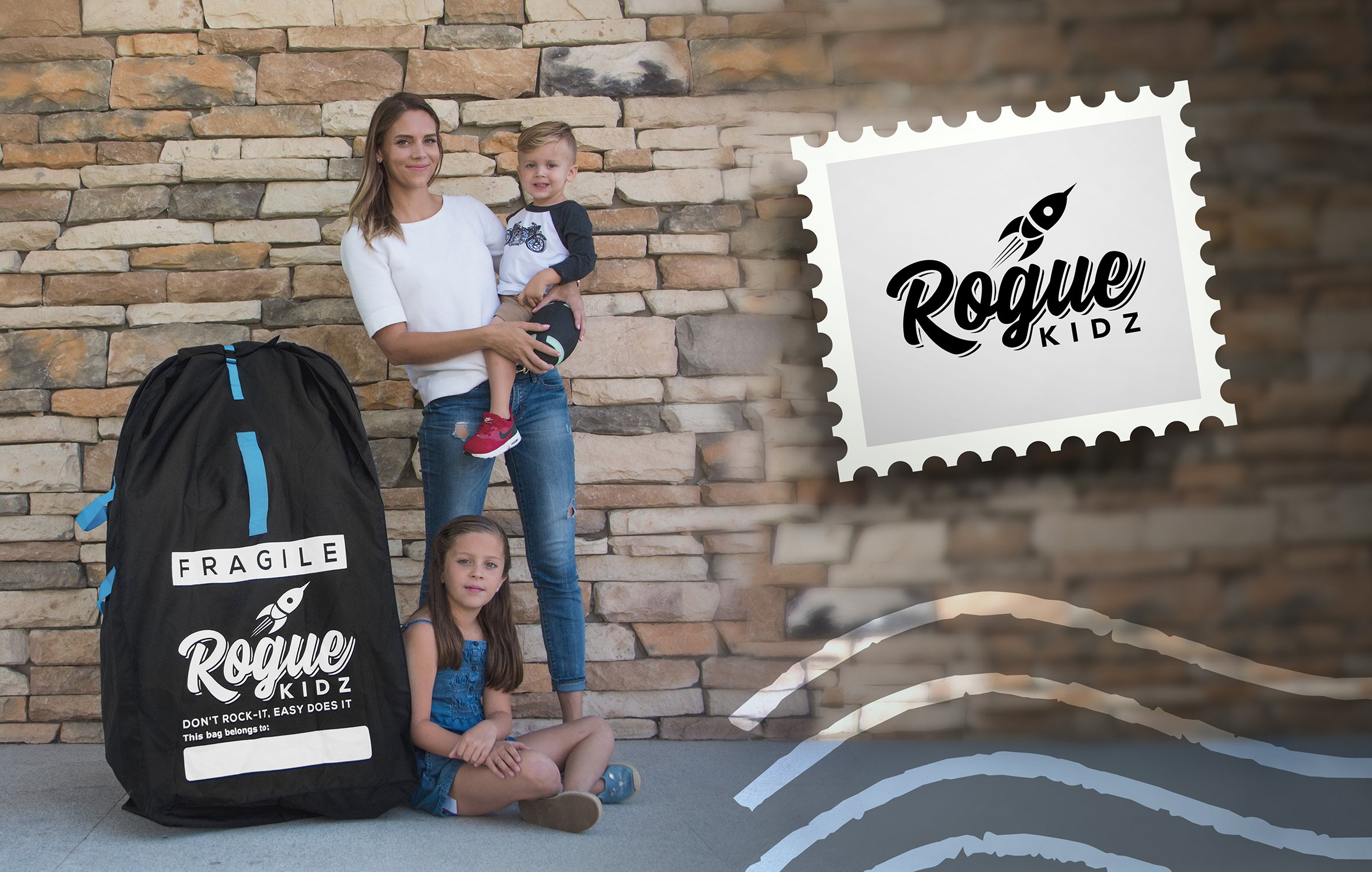 Rogue Kidz Single and Double Stroller Travel Bag For Airplane Gate Check - Durable Universal Large XL Cover With Padded Backpack Straps- Waterproof Heavy Duty Nylon Traveling Protector With Carry Case by Rogue Kidz (Image #8)