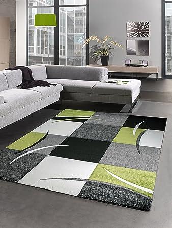 Designer Rug Living Room Carpet Karo Green Grey Cream Black Size 120x170 Cm