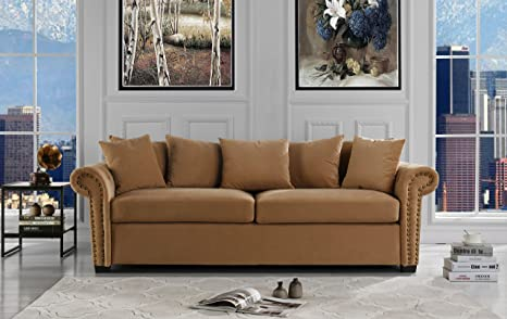 Classic Scroll Arm Velvet Living Room Sofa with Nailhead Trim (Brown)