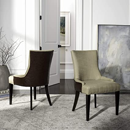 Stupendous Safavieh Mercer Collection Eva Viscose And Leather Dining Chair With Trim Nail Head Beige Creativecarmelina Interior Chair Design Creativecarmelinacom