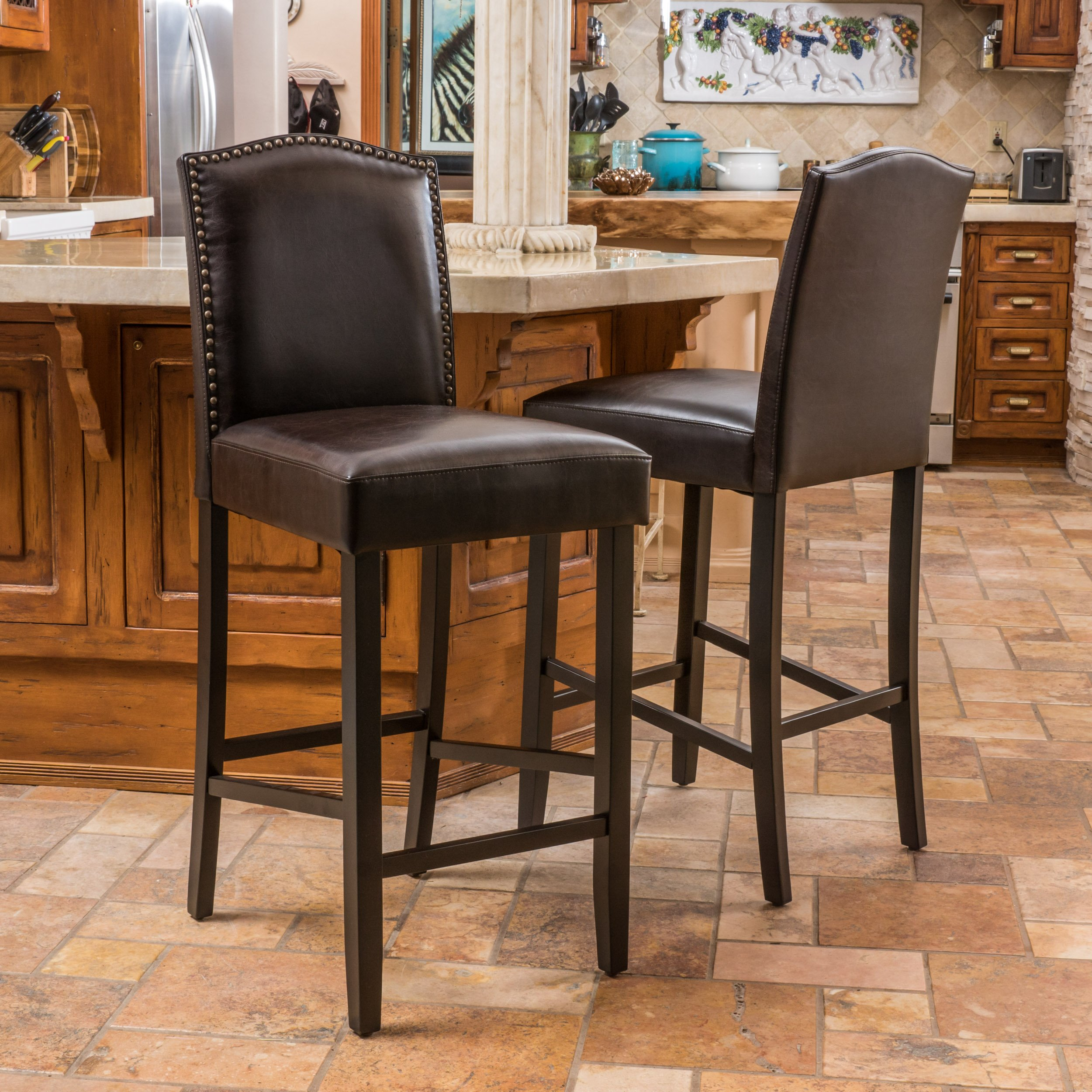 Auburn Bonded Leather Backed Bar Stool with Nail Head Accents (Brown) (Set of 2)
