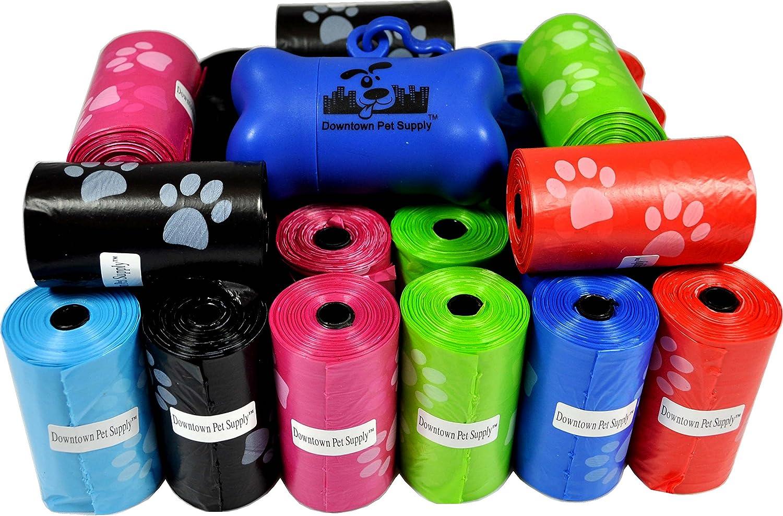 Dog Waste Bags by Downtown Pet Supply + Free Bone Dispenser Clean up Poop Bag Refills - Bulk Poop Bags on a roll 220 Pet Waste Bags Color: Purple