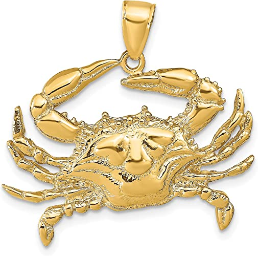 14K Yellow Gold Polished with Blue Enamel Crab Pendant Charm