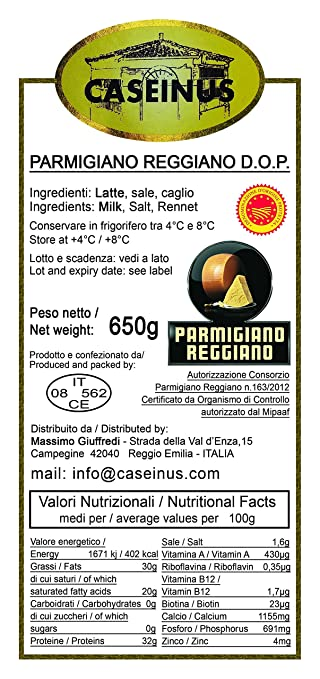 Traditional Parmesan Cheese CASEINUS 30 months aged (Parmigiano Reggiano 30 mesi) (2 kg): Amazon.com: Grocery & Gourmet Food