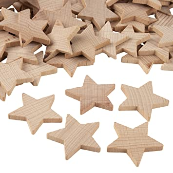 Wooden Stars 100 Piece Unfinished Wooden Star Cutout Shapes 1  5 X